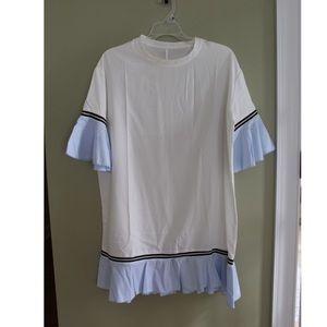 White and light blue dress
